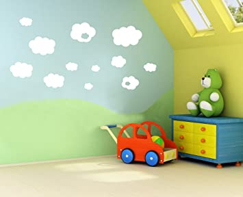 Vinyl Concept Clouds Childrens Kids Nursery Wall Stickers - Custom vinyl wall decals uk   how to remove