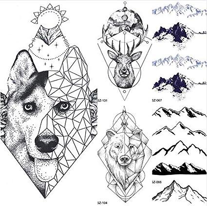ruofengpuzi Adesivo tatuaggioTótem geométrico Perro Lobo Brazo ...