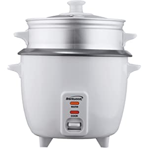 Brentwood RA25993 Appliances TS-600S Rice Cooker with Steamer (5 Cups, 400W), White