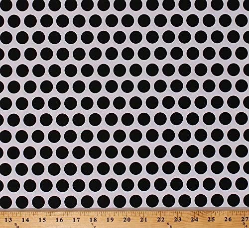 Cotton Black Polka Dots Spots Circles on White Mystique Cotton Fabric Print by The Yard (M704.29)