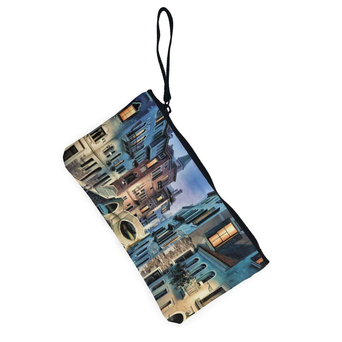 YUANSHAN Beautiful Venice Landscape Unisex Canvas Coin Purse Change Cash Bag Zipper Small Purse Wallets with Handle