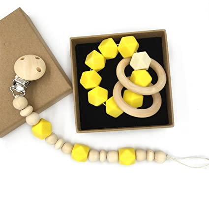 Amazon.com: amyster bebé Mordedor anillo de madera madera ...