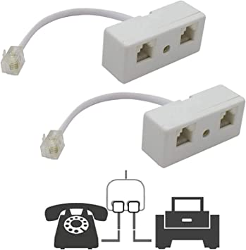 Amazon.com: Two Way Telephone Splitters, Uvital Male to 2 Female Converter  Cable RJ11 6P4C Telephone Wall Adaptor and Separator for Landline (White, 2  Pack): Office Products | Wiring Diagram Rj11 Splitter |  | Amazon.com