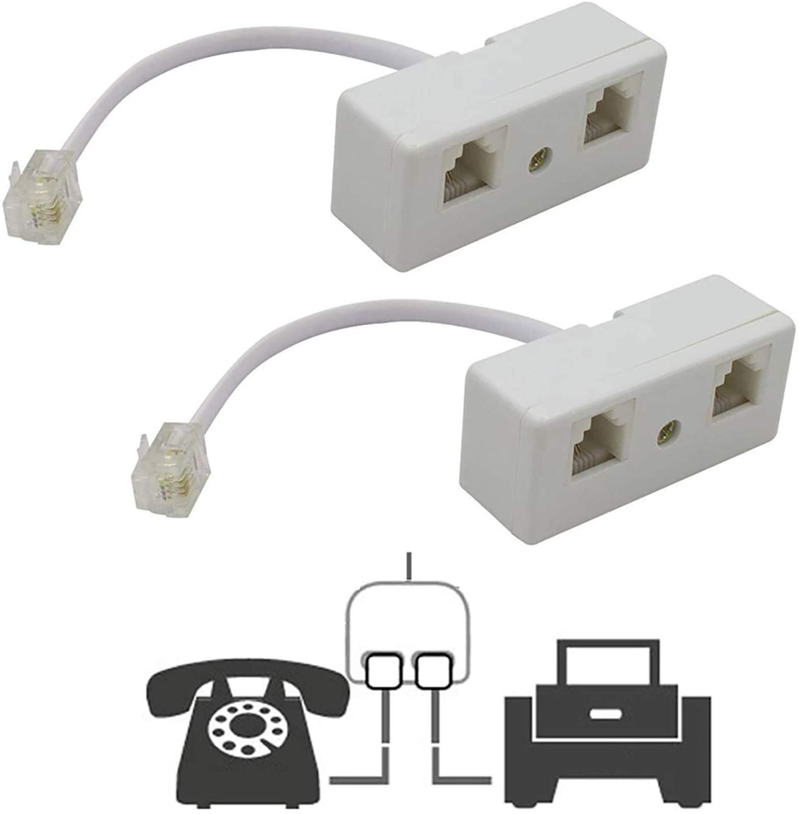 Two Way Telephone Splitters, Uvital Male to 2 Female Converter Cable RJ11 6P4C Telephone Wall Adaptor and Separator for Landline (White, 2 Pack)