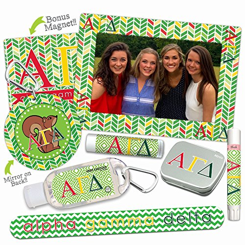 Alpha Gamma Delta DELUXE Variety Set (Nail File, Mint Tin, Mirror, Magnet Frame, Lip Shimmer, Lip Balm, Sanitizer)—Ideas for gift baskets, gift sets, stocking stuffers. By Worthy.