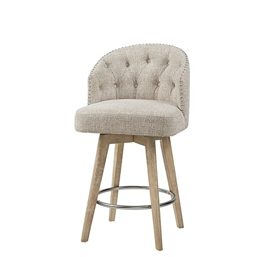 Madison Park Onyx Counter Height Swivel Barstool Modern Solid Wood, Upholstered Foam Seat, Cream Pub Stool, 26.75 Inch,