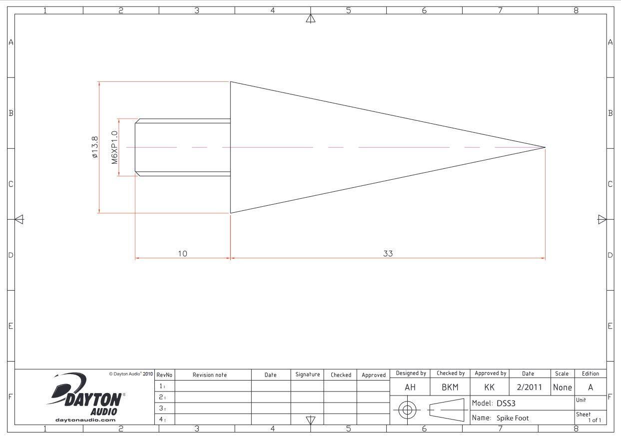 Dayton Audio Dss3-Bk Black Speaker Spike Set 4 Pcs.