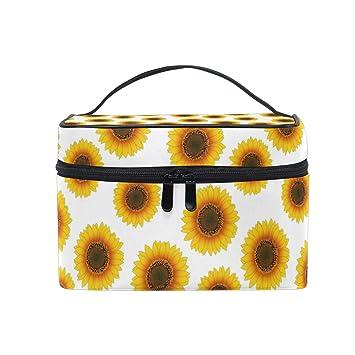 c2f4d45f4ba5 Amazon.com : Cosmetic Bag Yellow Sunflower ImageTravel Makeup Brush ...
