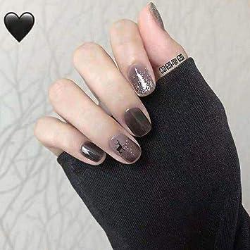 Amazon Com Eollan Short Press On Nails Christmas Elk False Nails Black Fake Nails Full Cover Acrylic Nails For Women And Girls 24pcs Beauty
