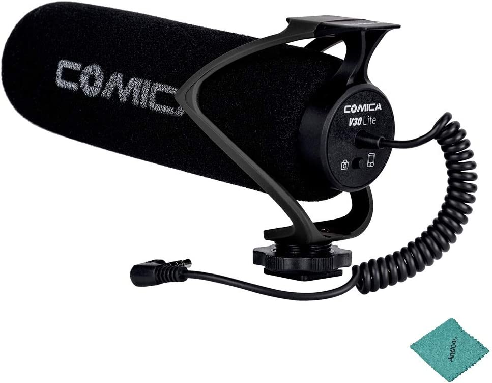COMICA CVM-V30 LITE Microphone with Super-Cardioid Polar Pattern Cold-Shoe Design Condenser MIC for Smartphone Camera with Cleaning Cloth