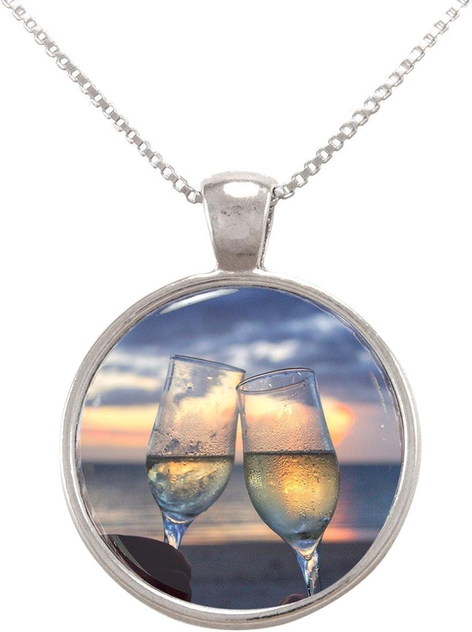Arthwick Store Champaigne Glasses on The Beach Pendant Necklace