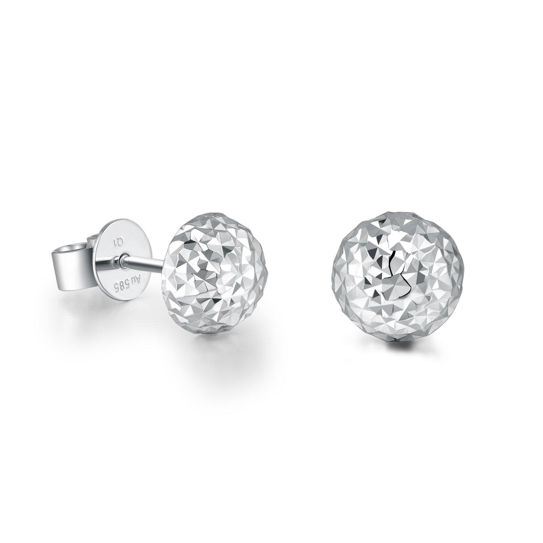 MaBelle 14K White Gold Diamond-Cut Half Shinny Disco Ball Stud Earrings