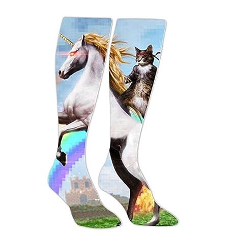 Amazon.com: Soft Unicorn Ninja Cat Long Socks High Socks ...