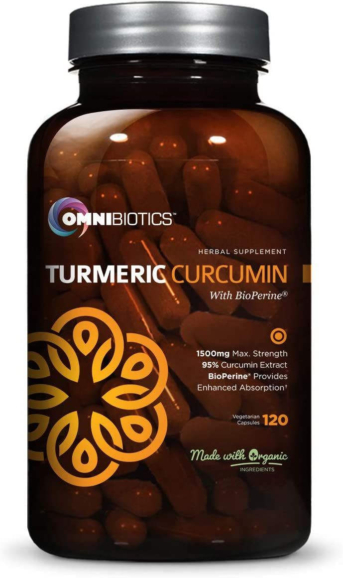 Organic Turmeric Curcumin Supplement 1500mg with BioPerine 95 Standardized Curcuminoid Extract Organic Root Powder with Piperine Black Pepper Fruit 10mg , 120 Vegetarian Capsules