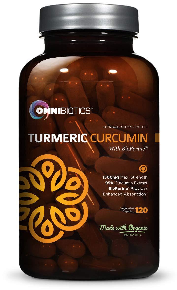 Organic Turmeric Curcumin Supplement 1500mg with BioPerine | 95% Standardized Curcuminoid Extract & Organic Root Powder with Piperine Black Pepper Fruit (10mg), 120 Vegetarian Capsules