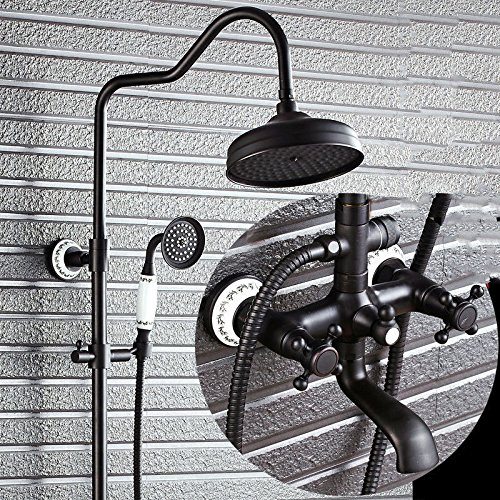 SADASD European Copper Bathroom Lift Black Shower Faucet Set Black Bronze Antique Water Shower Hot and Cold Mixer Tap