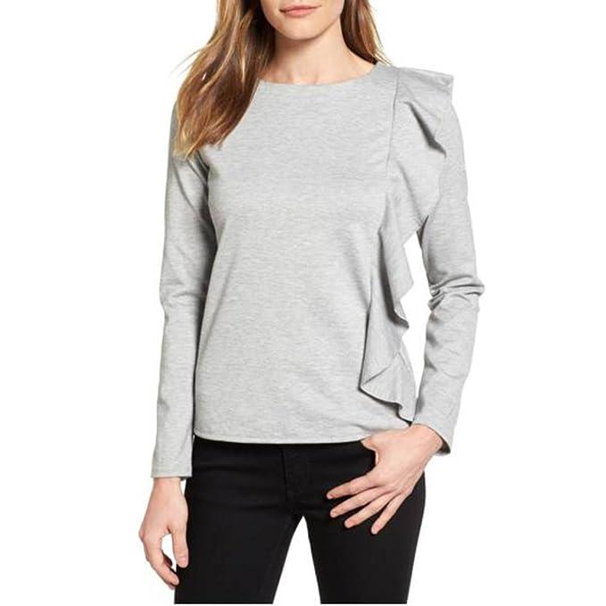 Cloom Ruffled Partner Grauer Pullover Damen Sexy Top Langarm Damen T-Shirt  Coole Pullover Langarmshirt 372fc5af0a
