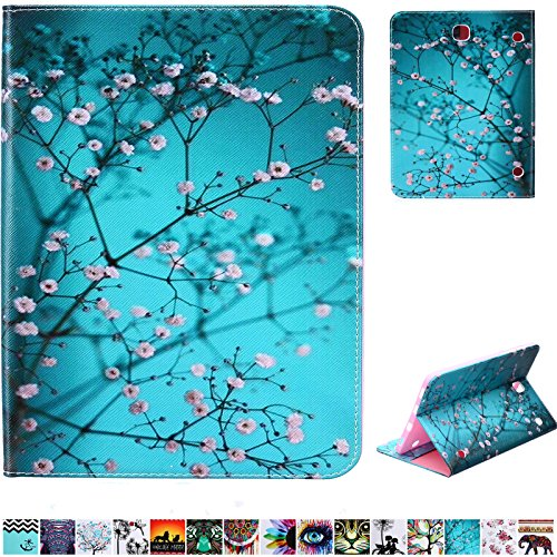 UUcovers Galaxy Tab S2 9.7 Green Case, PU Leather Wallet and Soft TPU Back Cover with Pocket Card Slots Folio Stand Shockproof Shell for Samsung Galaxy Tab S2 9.7 inch (SM-T815/SM-T810), Pear Flower (Samsung Galaxy S2 Bling Case)