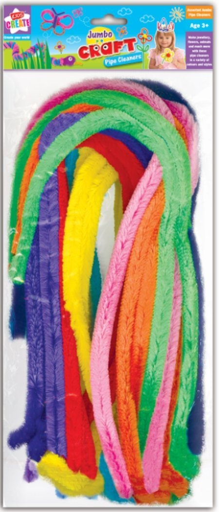 Anker Kids Create Arts and Crafts Jumbo Pipe Cleaners, Plastic, Assorted Colour, 18-Piece PII/5