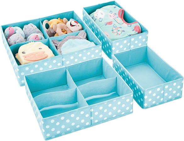 mDesign Juego de 2 cajas de ordenación para ropa, cosas para niños y más – Organizadores de cajones infantiles de tela – Cestas organizadoras con cinco compartimentos – turquesa y blanco: Amazon.es: Hogar