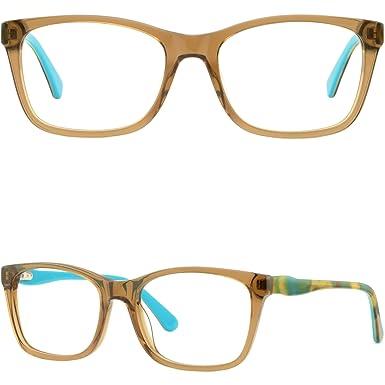d065d90ceaedb Image Unavailable. Image not available for. Color  Light Rectangle Men  Women Plastic Frame Prescription Glasses Spring Hinges Brown