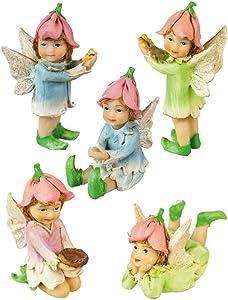 Evergreen Enterprises, Inc Mini Garden 5 Piece Petal Fairies Statue Set
