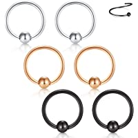 Briana Williams Nose Hoop Cartilage Earring, 18G 20G 8mm 10mm 316L Surgical Steel Lip Eyebrow Tongue Helix Tragus Septum Nose Piercing Ring