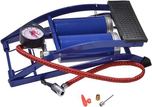 EQS Pompe /à Pied Portable VTT Double Tube Pompe /à Double Cylindre Voiture p/édale Pompe /à air gonfleur de Pneu avec manom/ètre pour Voiture Pneu de v/élo Pneu de Moto Pneu