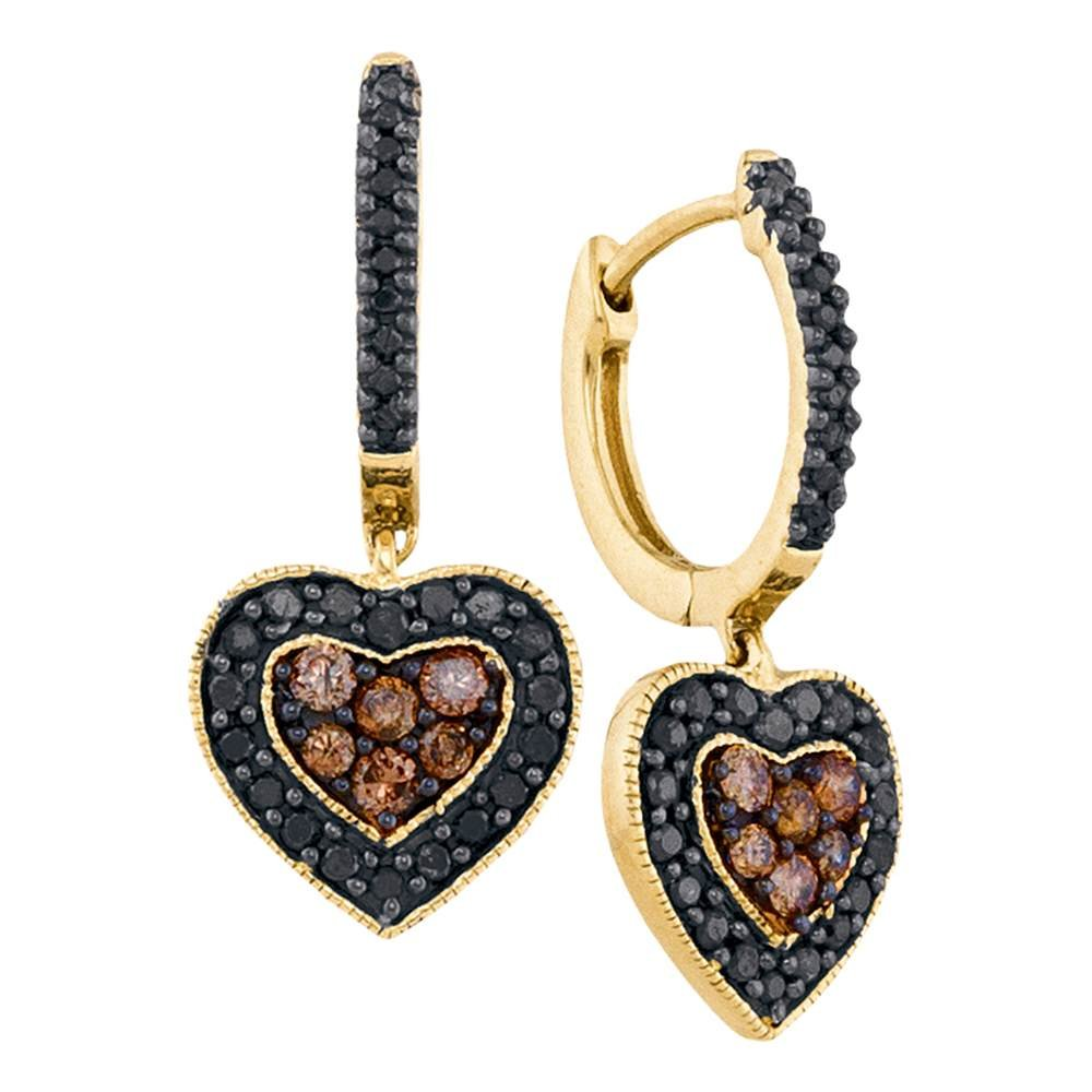 Roy Rose Jewelry 14K Yellow Gold Ladies Black Colored Diamond Heart Cluster Earrings 5/8 Carat tw