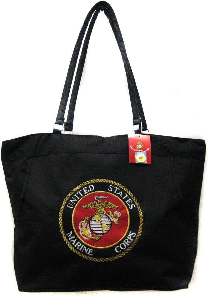 USMC Marines Marine Corps Black Beach Bag & 12 x 18 inch Poly Flag, Gift Set