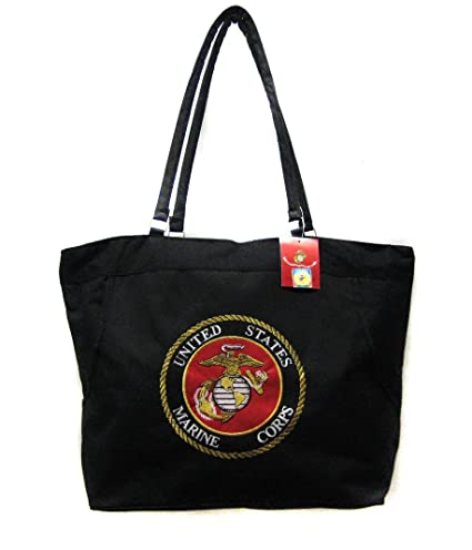 c72dc8b7b973 USMC Marines Marine Corps Black Beach Bag & 12 x 18 inch Poly Flag, Gift Set