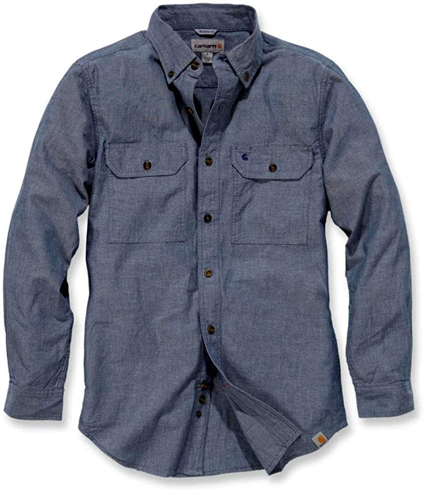 Carhartt Herren Hemd Fort Solid Blau Denim Blue Chambray S: Amazon.es: Ropa y accesorios