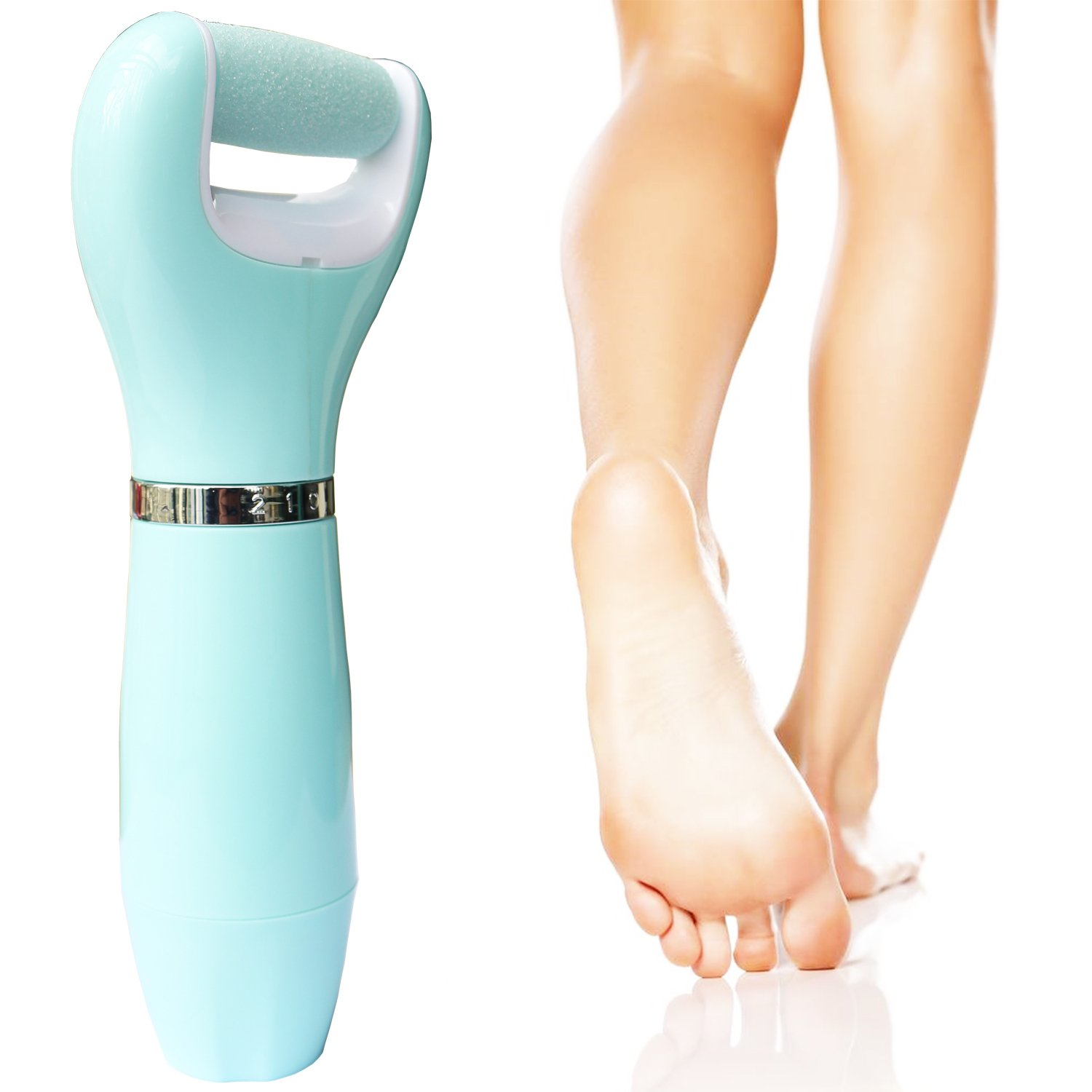 Stalong Electric Callus Remover Foot File Pedi shaver Pedicure Set Shaves Calluses Dead Hard Skin On Dry Feet 2 Mineral Pumice Stone Rollers Good for Man & Woman Batteries Powered Light Blue