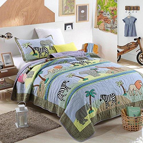 NEWLAKE Animal Kingdom Themed Comforter Sets (1 Quilt + 1 Pillow Sham), Twin Size (Animal Set Kingdom)
