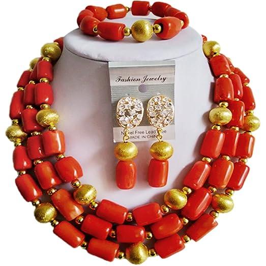 laanc Nigerian African Wedding Beads 2 Layers Multi-Color Imitation pearls Jewelry Sets ozVpjn7iH