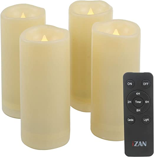 4 Pack Flameless Battery Operated LED Pillar Candles W Remote Outdoor Waterproof