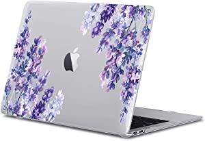 GoldSwift Lavender Floral Flowers Pattern Matte Rubberized Hard Shell Laptop Clear Case Cover for MacBook Pro 13 Inch 2020 Model Number A2251/A2289/A2159/A1989/A1708/A1706