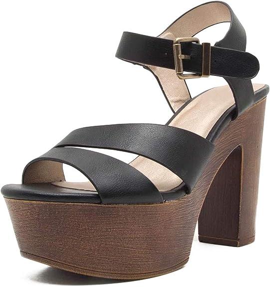 Christchurch Proscrito Médula  Amazon.com   Qupid BLOGGER-15 Vintage Style Faux Wood Strappy Chunky Block  Platform Sandal Heels (7, Black)   Sandals