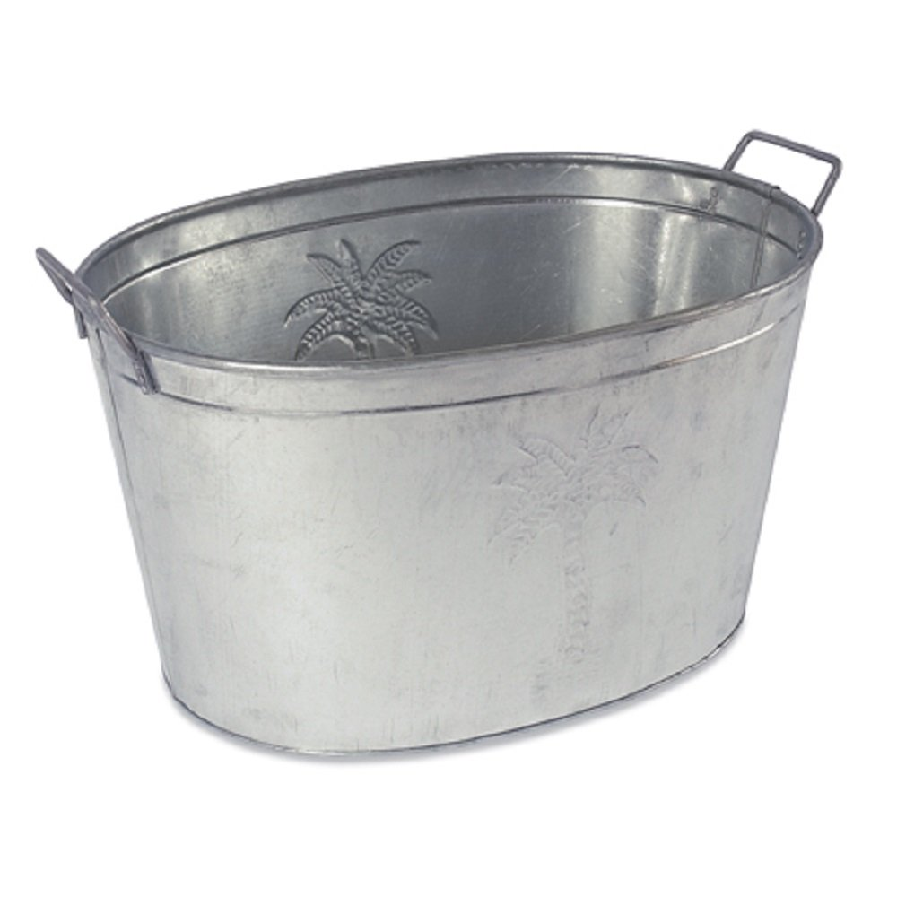 Farmhouse Small Oval Galvanized Steel Beverage Tubs with Handles (Palm Tree)