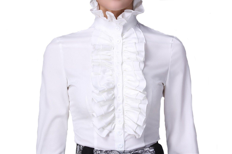 DEARCASE Women Stand-Up Collar Lotus Ruffle Shirts Blouse 5