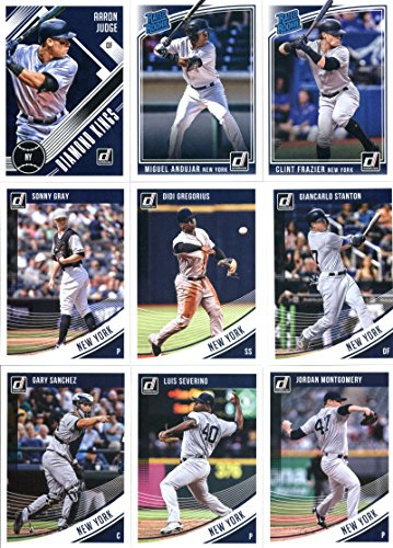 2018 Donruss Baseball New York Yankees Team Set of 14 Cards: Aaron Judge(#19), Miguel Andujar(#31), Clint Frazier(#33), Sonny Gray(#94), Didi Gregorius(#130), Giancarlo Stanton(#143), Aaron Judge(#148), Gary Sanchez(#150), Luis Severino(#151), Jordan Montgomery(#152), Mickey Mantle(#200), Aaron Judge/Clint Frazier(#201), Aaron Judge(#253), Mickey Mantle(#254) - GOTBASEBALLCARDS