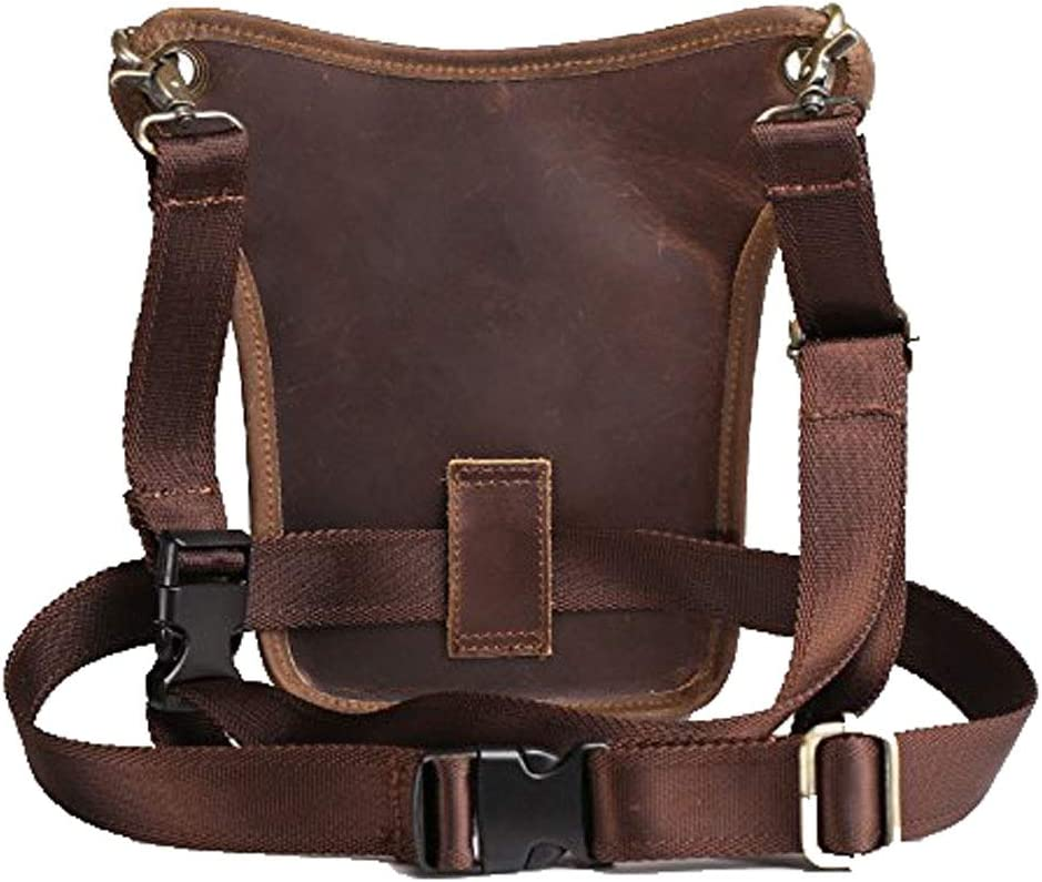 #04Brown Leather Waist Pack Drop Leg Bag for Men Women Belt Bumbag Multi-Function Motorcycle Bike Outdoor Sports Tactical Cycling Riding Hiking Camping Daypack