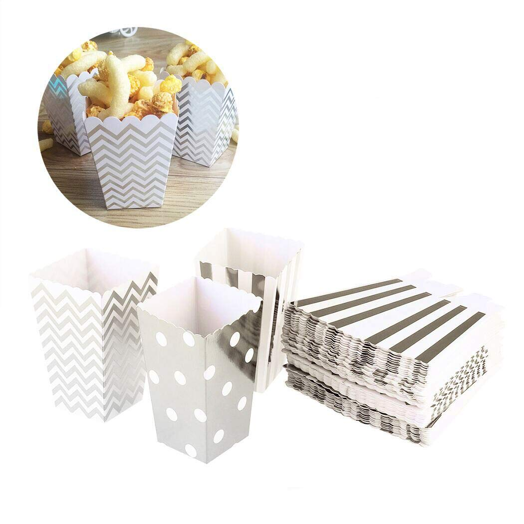 Creatiees 96pc Mini Popcorn Boxes, Cardboard Candy Containers for Birthday, Bridal and Baby Shower, All Parties & Events - Random Patterns(Gold)