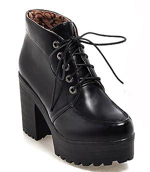 IDIFU Women's Fall Lace Up Chunky Platform Martin Ankle Boots Black 5 B(M) US