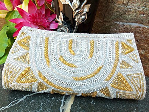 Vintage Richere Gold beaded evening clutch ..Ethnic Bead Wallet with magnetic closure ..prom party bag ..Bridal evening Pouch..