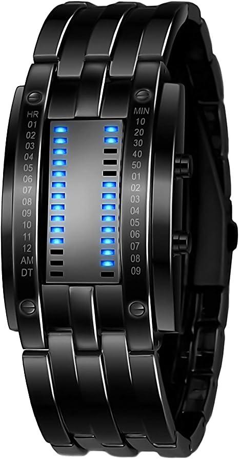 Reloj electrónico binario TXG Reloj para hombre Reloj LED Reloj de acero inoxidable Reloj resistente al agua Reloj deportivo Waterproof Stainless
