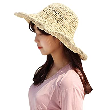LA HAUTE Women¡¯s Floppy Straw Hat Hollow Out Cap Wide Brim Hat Foldable e26fc0c58332