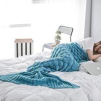 Manta de Cola de Sirena Adulto, Hecho a Mano de Ganchillo Sofá Cola de Pescado Sirena Mantas Saco de Dormir para Mujeres…