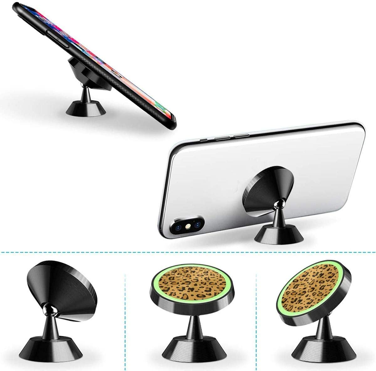 Car Phone Mount Magnetic African Cheetah Leopard Print Phone Holder for Car Rotatable Dashboard Phone Holder Cradle Compatible All Smartphones