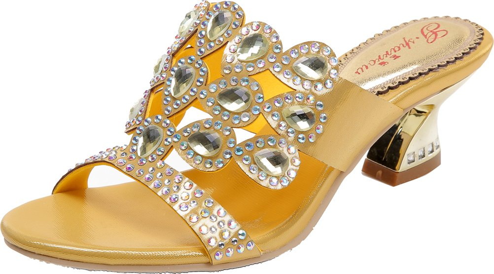 Abby Womens Crystal Wedding Bride Bridesmaid Sexy Party Show Dress Block Heel Micro-fiber Sandals Gold US Size10